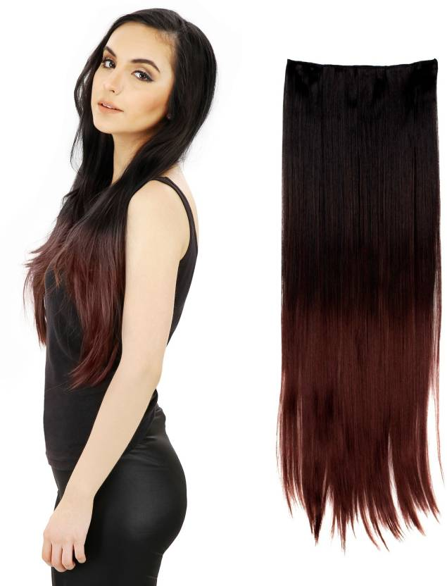 Out Of Box Black Burgundy Heighted At Bottom Straight Synthetic Hair