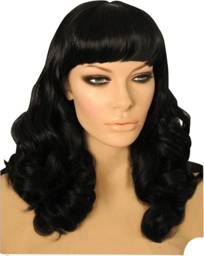 Hollywood Hair4u Long Curly Pinup Style Wig With Bangs Kanekalon