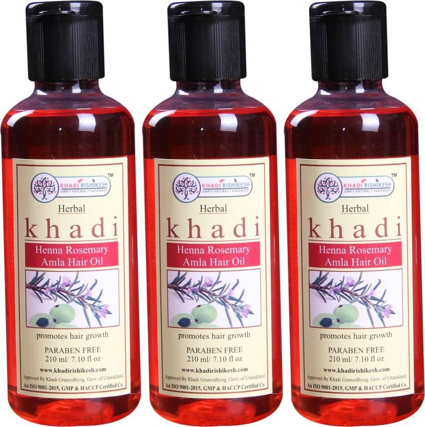 Khadi Rishikesh Herbal Henna Rosemary Amla Pack Of 3 Each Hair Oil