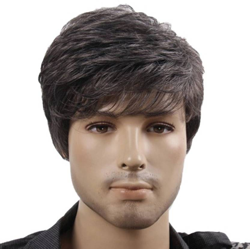 kabello full head wigs for mens short straight black hair