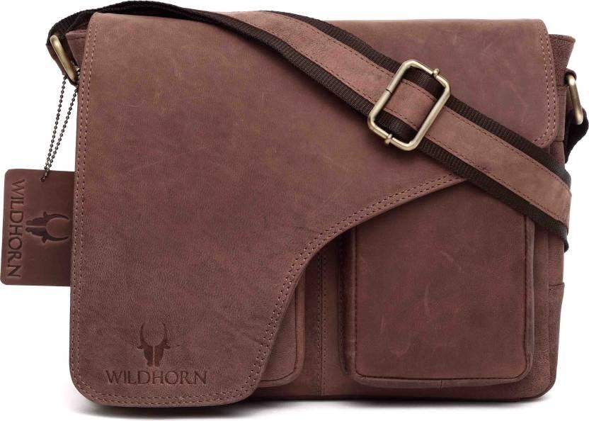 6cedf3e6b668 Buy WildHorn Messenger Bag Brown Online   Best Price in India ...