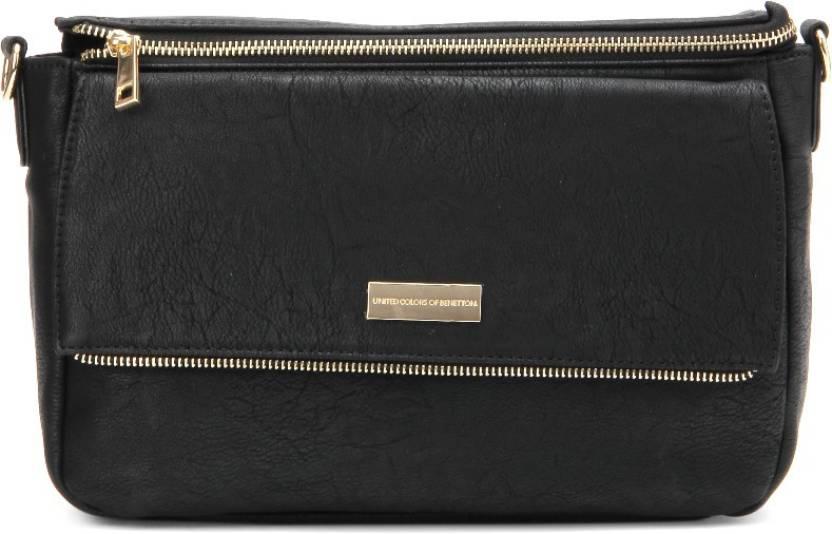 United Colors of Benetton Women Casual Black PU Sling Bag 100 ... b0b296a3fe