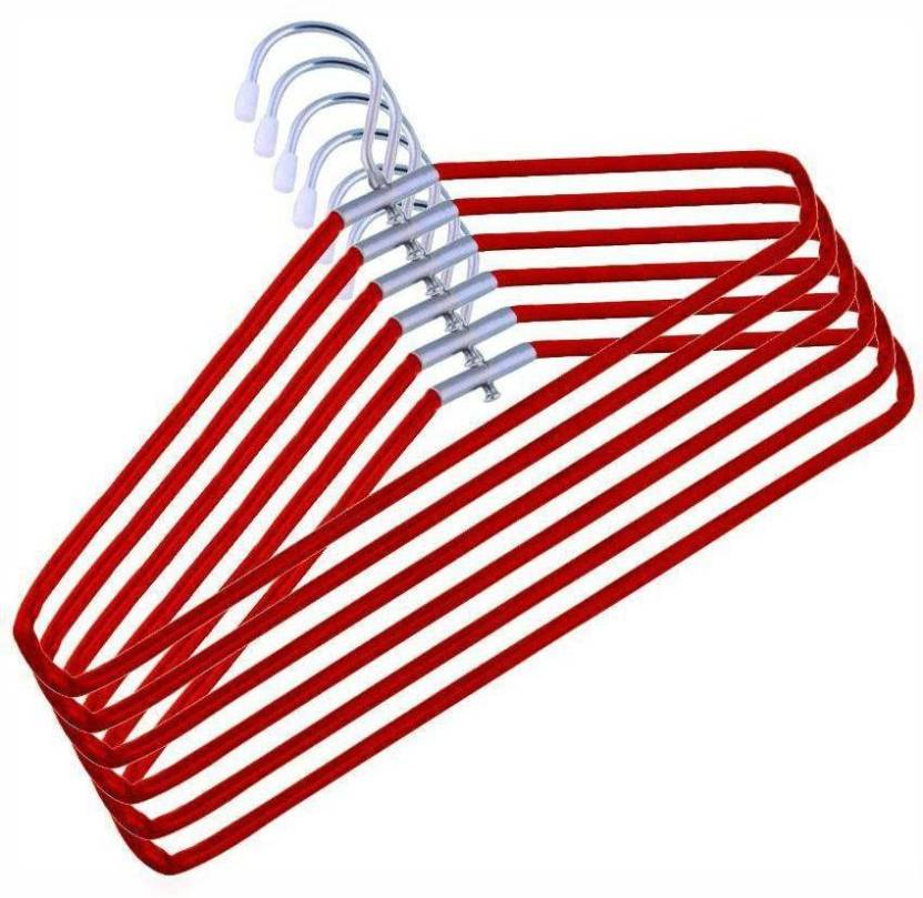 Aar India Steel Pack of 12 Hangers Red