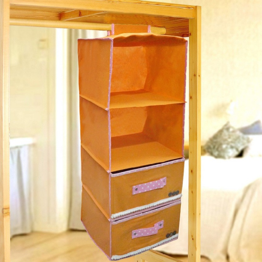 Pindia Fancy Foldable 4 Layer 2 Drawer Orange Hanging Storage Wardrobe  Almirah Closet Organizer