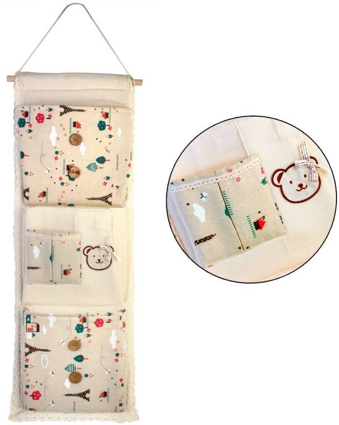 f1c6b2a6d77a HOKIPO Lace Fabric 3-Layer Pocket Wall Door Cloth Colorful Hanging Storage  Bags, 29 x 73 cm Handbag Organizer