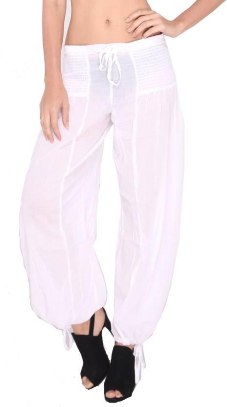 62a7853f8f The Beach Company Solid Cotton Women's Harem Pants - Buy White The Beach  Company Solid Cotton Women's Harem Pants Online at Best Prices in India |  Flipkart. ...