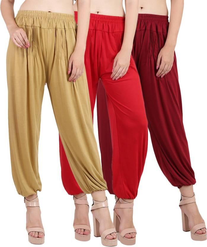 5d68c29428 Kannan Solid Cotton Lycra Blend Women's Harem Pants - Buy Beige, Red,  Maroon Kannan Solid Cotton Lycra Blend Women's Harem Pants Online at Best  Prices in ...