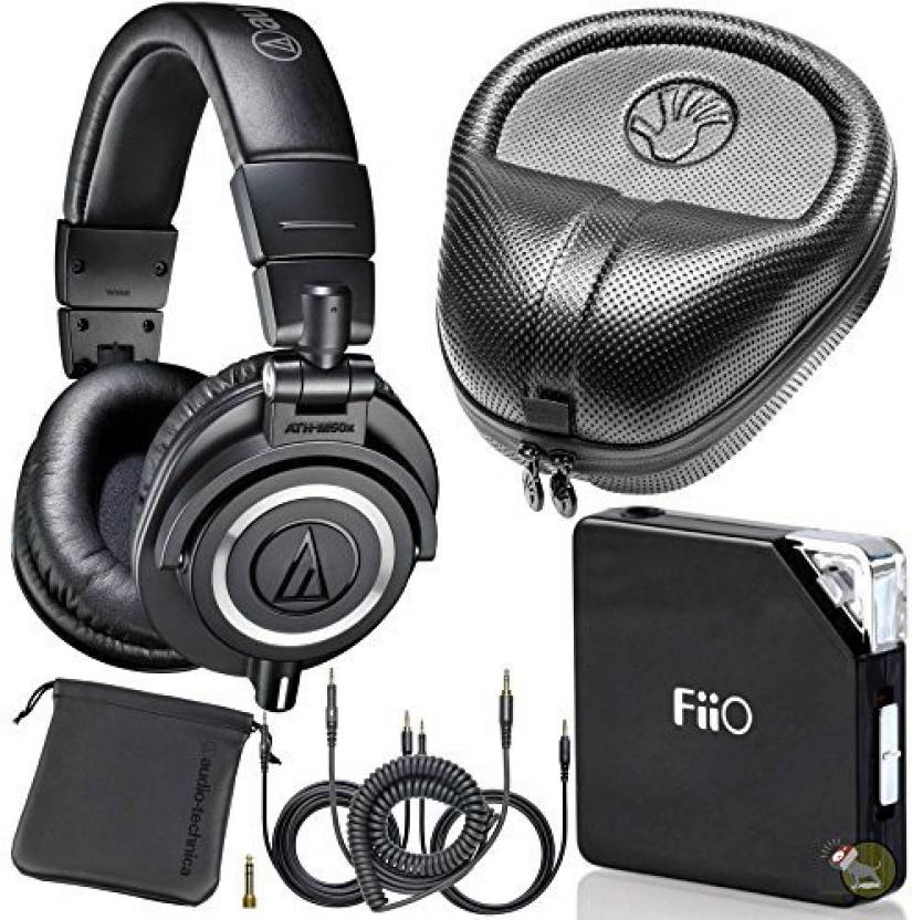 2e611572db2 Audio Technica Audio Technica M50X Dj Studio Headphones W/ Fiio E06 Amp &  Hard Case Headphone (Black)