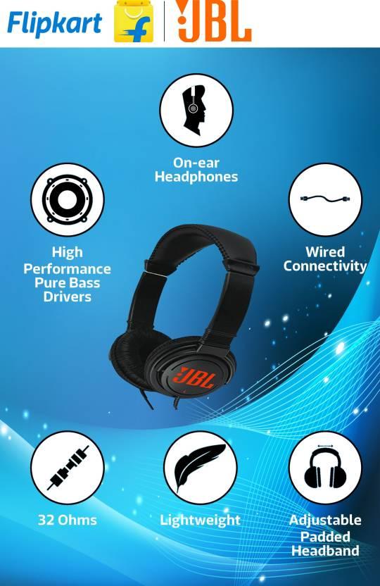 JBL T250SI On-the-ear Headphone  (Black, On the Ear) By Flipkart @ Rs.849