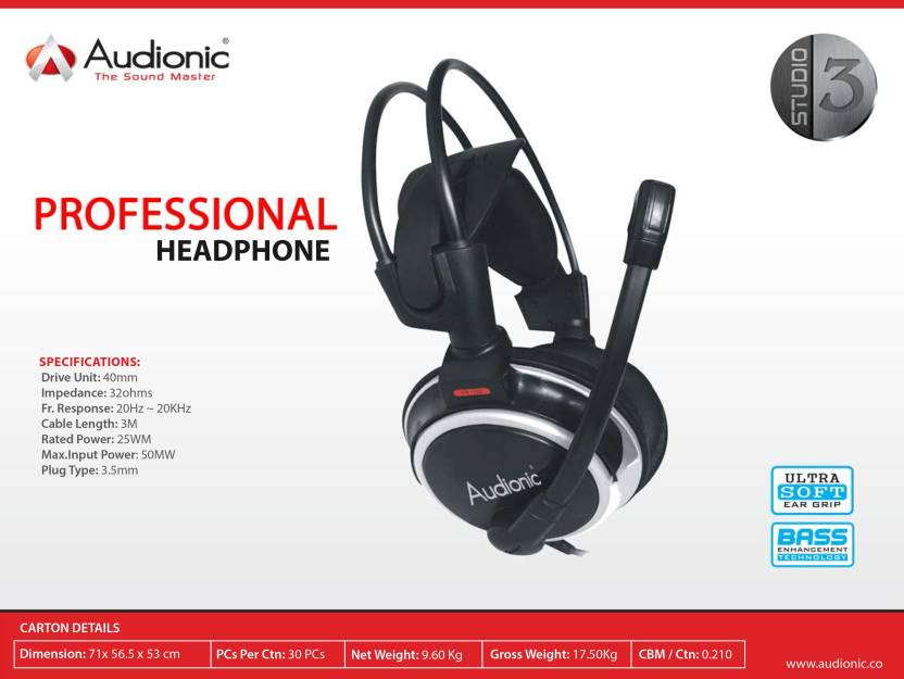 40d31a0887c Audionic Studio3 Headphone Price in India - Buy Audionic Studio3 ...