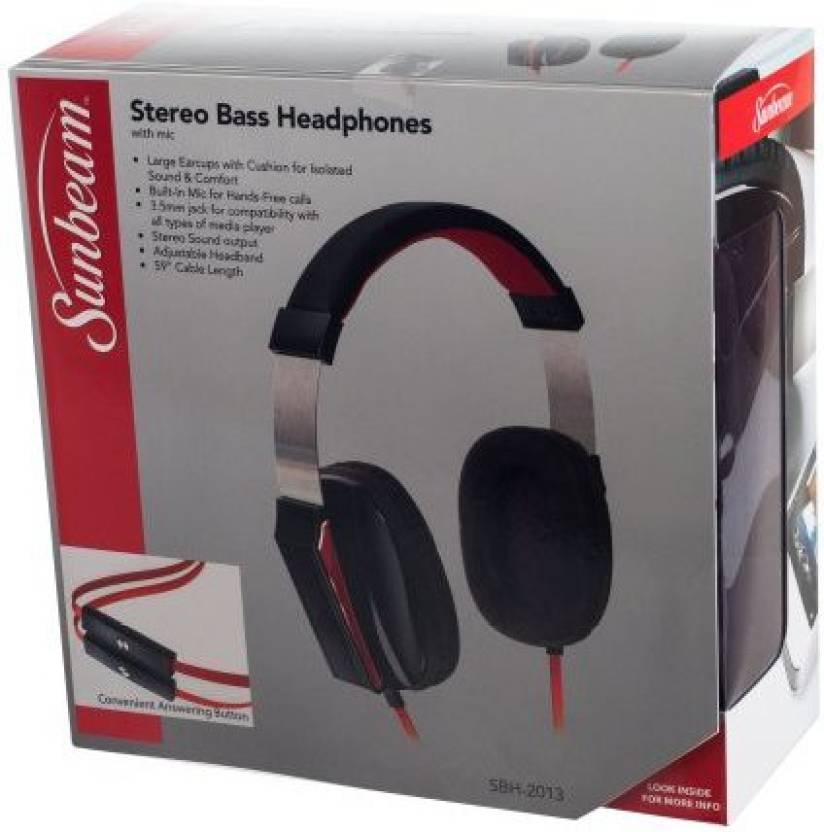 762bf2fcb31 Sunbeam 72-Sb650W Stereo Big Bass Headphones With Microphone Headphone  (White)