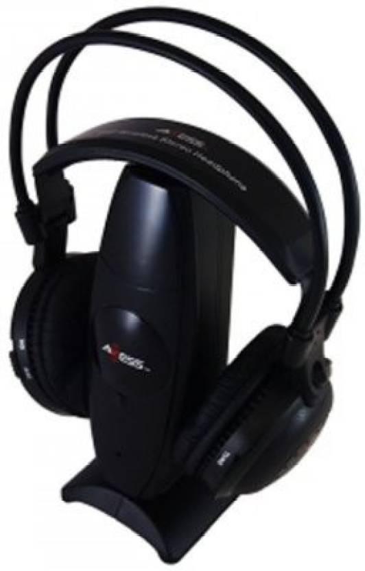 Axess Hpw603 Bk Over Ear 900Mhz Uhf Rf Stereo Wireless Headphone