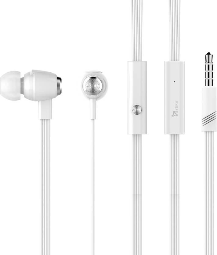 3042e355b04 Syska SYSKA H-008 Ear Phone In Ear Wired Earphones With Mic White Headphone  (White, In the Ear)