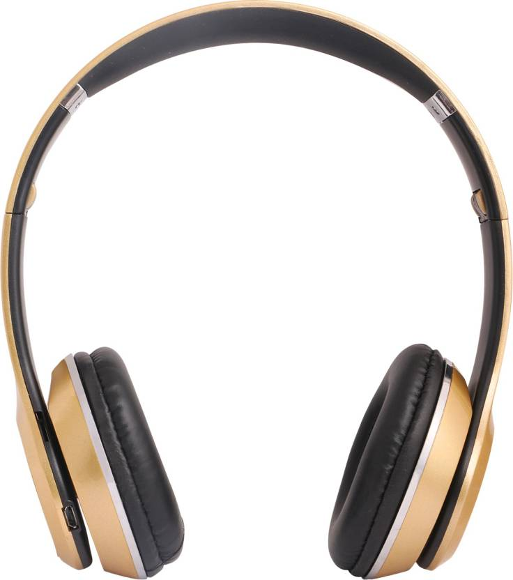 REJUVENATE S460 WIRED   WIRELESS WITH TF CARD SUPPORT Bluetooth Headset GOLDEN, Wireless over the head