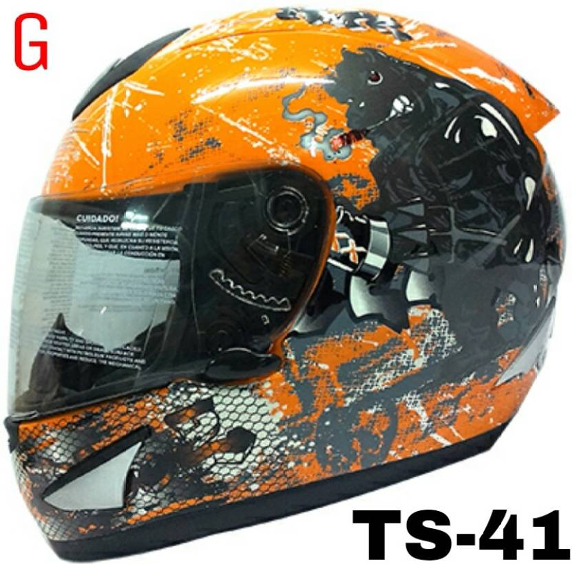 THH Ts-41 Full Face Bull with orange backgound Motorbike Helmet