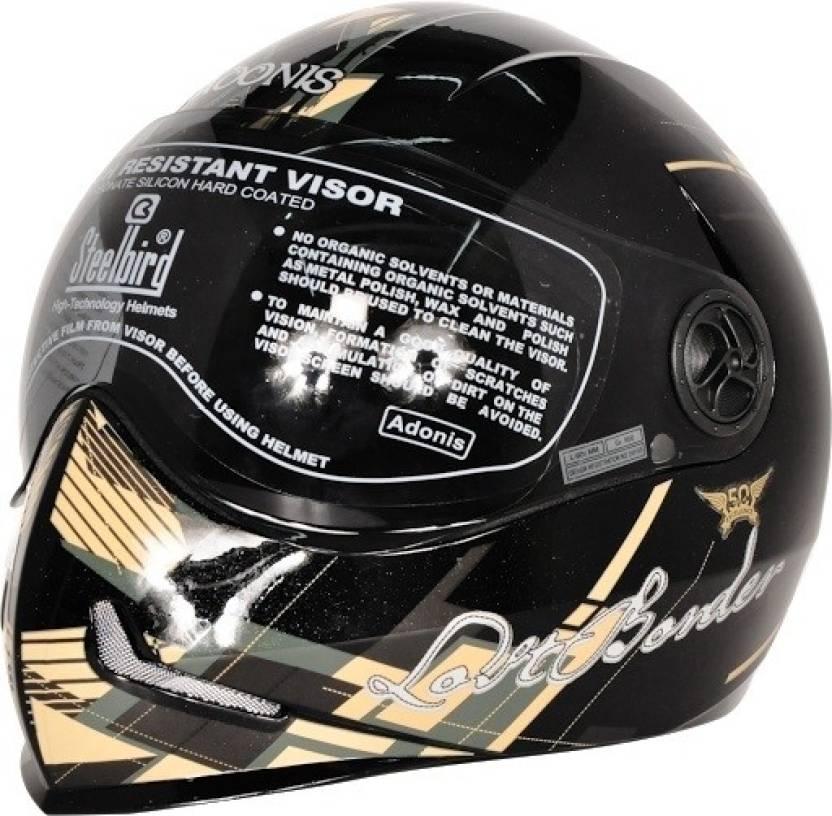 7f4ad94f Steelbird Adonis Graphics Lost Border Full Face Tinted Visor Motorbike  Helmet (Black, Beige, Yellow)