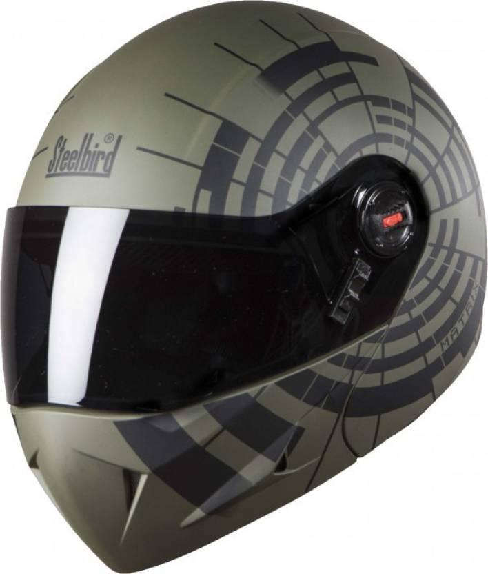 a3940fab Steelbird SB-41 OScar Matrix Motorbike Helmet (Glossy Black with Met Grey)
