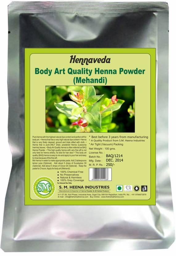Mehndi Body Art Quality Henna : Hennaveda body art quality henna powder price in india