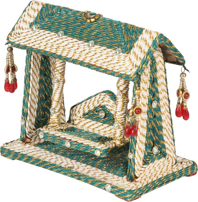 Earthenmetal Handcrafted Colourful Thread Woven Mandir Jhoola Wooden