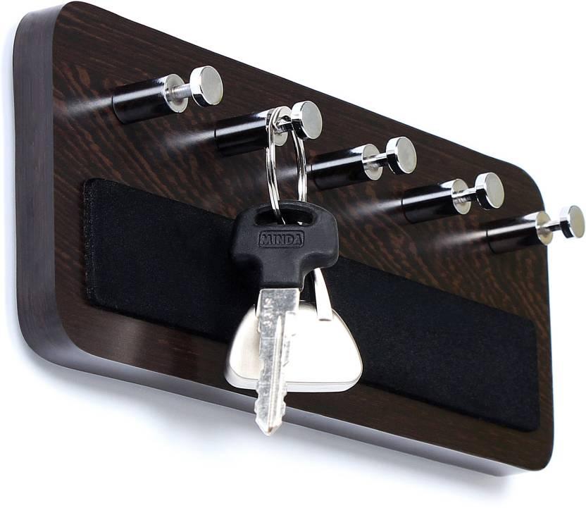 Bluewud Wall Mounted Key Rack Hooks   Skywood Wenge Big Wood Key Holder 5 Hooks, Brown