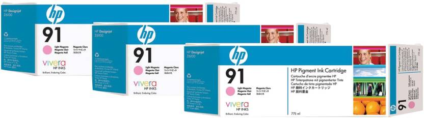 HP 91 3 pack 775 ml Light Magenta Pigment Ink Cartridges