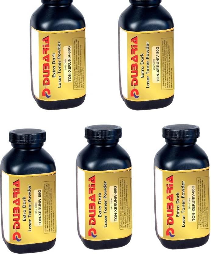 Dubaria Extra Dark powder Universal for Xerox Cartridge 80 grams Pack of 5 Single Color Ink Toner