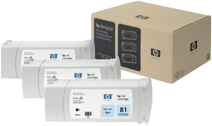 HP 81 3-pack 680-ml Light Cyan Dye Cartridges