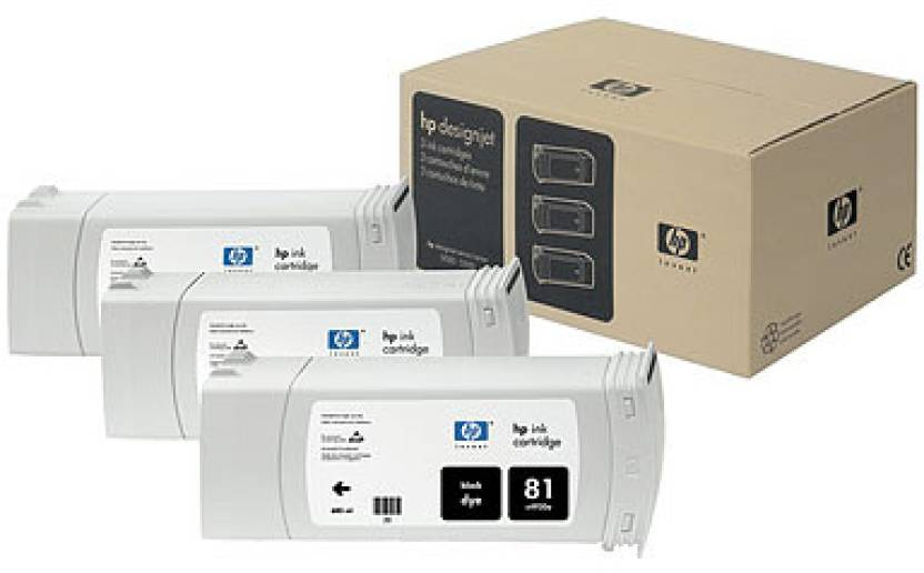 HP 81 3-pack 680-ml Black Dye Cartridges