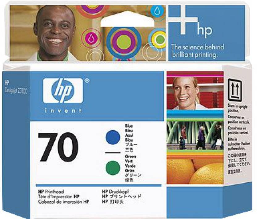 HP 70 Blue and Green Printhead Ink Cartridge