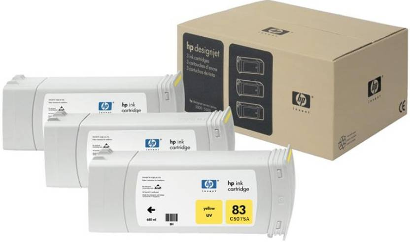 HP 83 3-pack 680-ml Yellow UV Cartridges