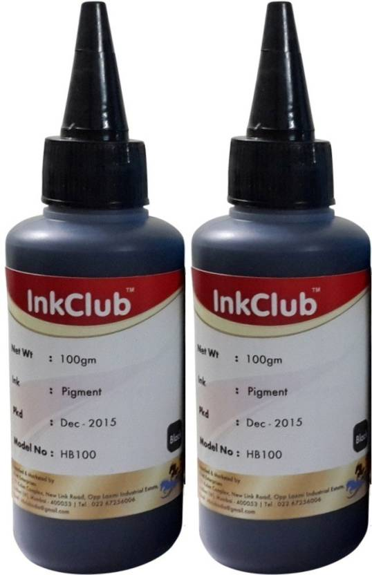 Inkclub Compatible HP Black Pigmented Ink - Set Of 2 100 Ml Bottle Single Color Ink