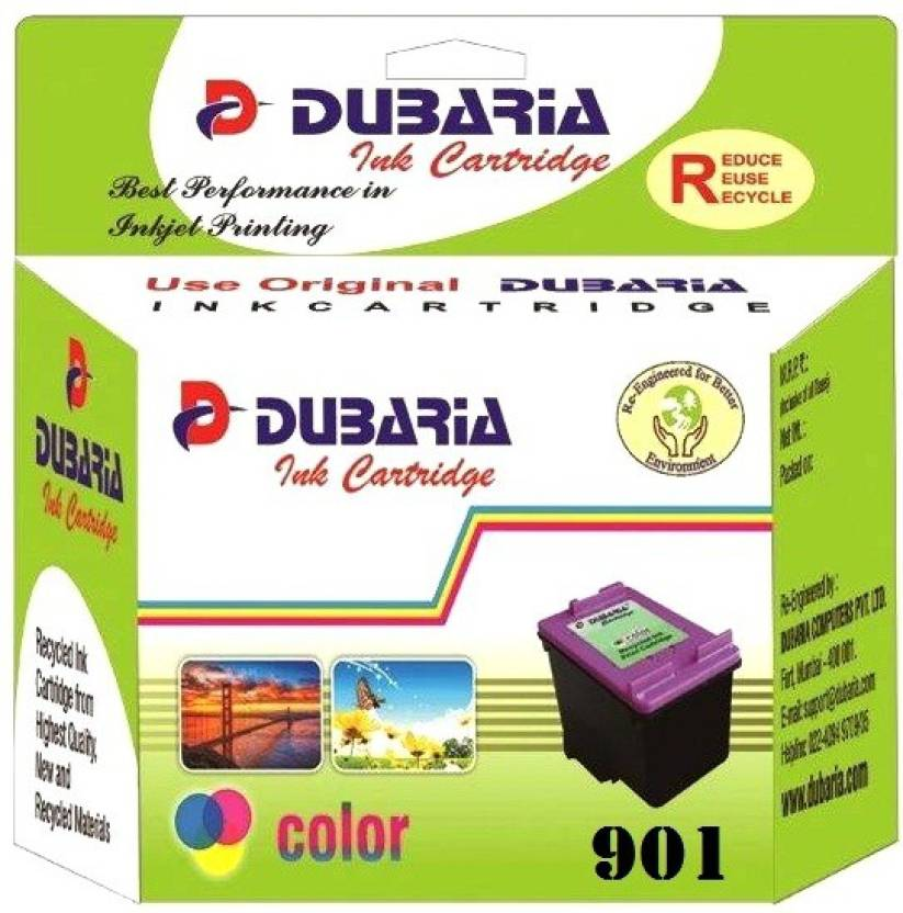 Dubaria 901 TriColor Ink Cartridge Compatible For HP 901 TriColor Ink  Cartridge For Use In OfficeJet J4500, 4500, J4680 Printers Multi Color Ink