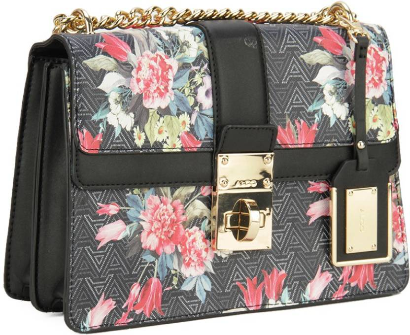 cdc08cd94c5 Buy ALDO Sling Bag Black   White Jacquard w  Floral Print w  Lt Gold hw  Online   Best Price in India