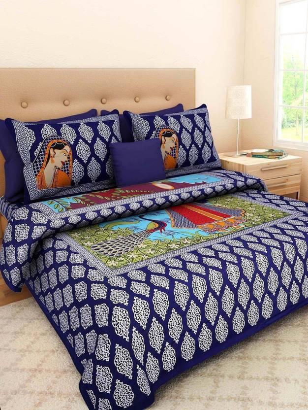 de28da28f4c Uniqchoice 210 TC Cotton Double King 3D Printed Bedsheet (Pack of 1