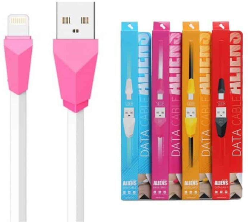 6456756e195 VibeX ™ Remax RC-030i 1M Aliens Series 8 Pin Charging Cord iPhone Sync & Charge  Cable (Pink)