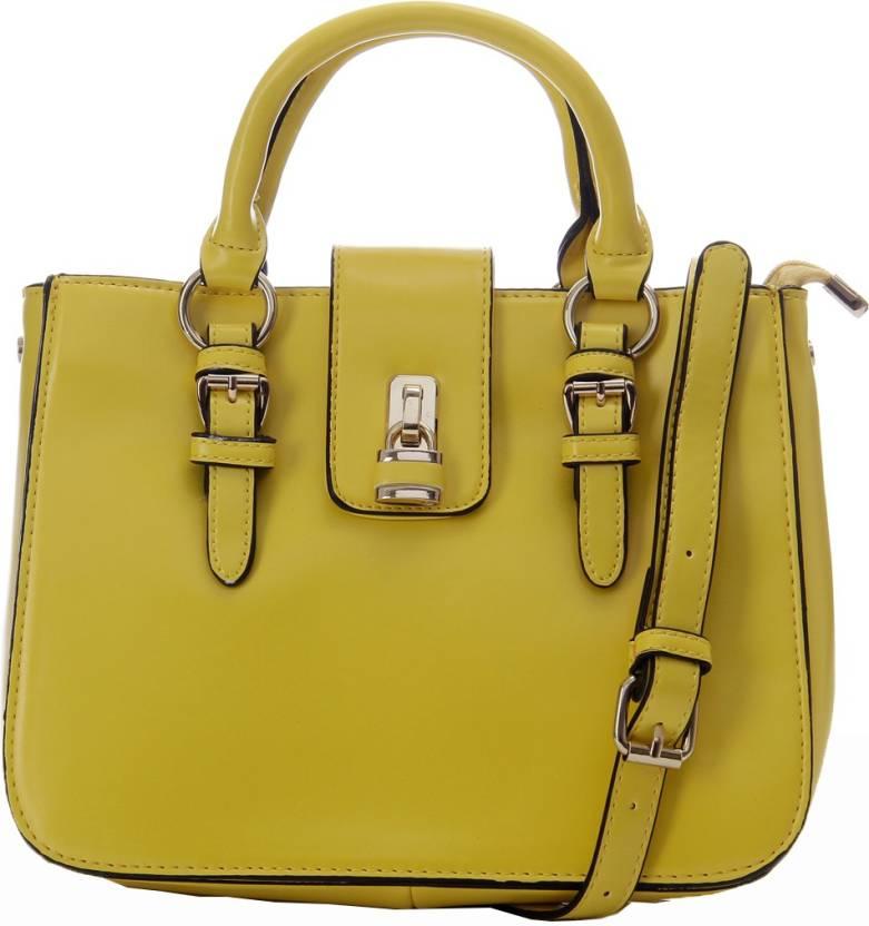 GLAM DIVA Women Formal Yellow PU Hand-held Bag Yellow - Price in