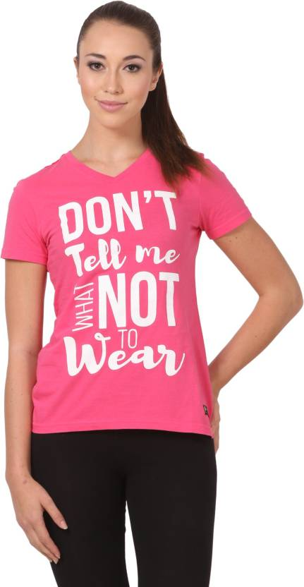 CRUSH FITNESS INDIA Printed Women s V-neck Pink ae7c63d5f0