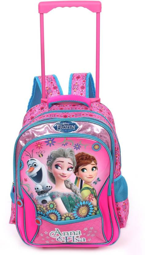 31357dc31af Disney Frozen Anna   Elsa Pink School Bag 18 inches Trolley Bag School Bag  (Multicolour