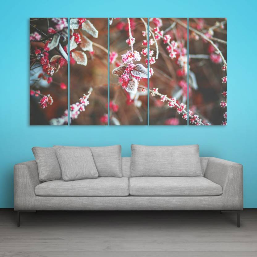 Inephos Multiple Frames Snow Cherry Leaves Wall Painting Digital