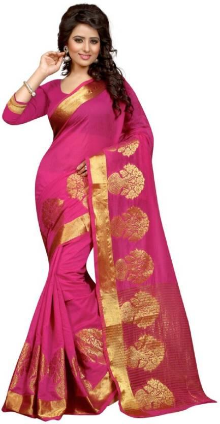 568bbba505 Buy Jay Fashion Self Design Banarasi Silk Pink, Gold Sarees Online ...