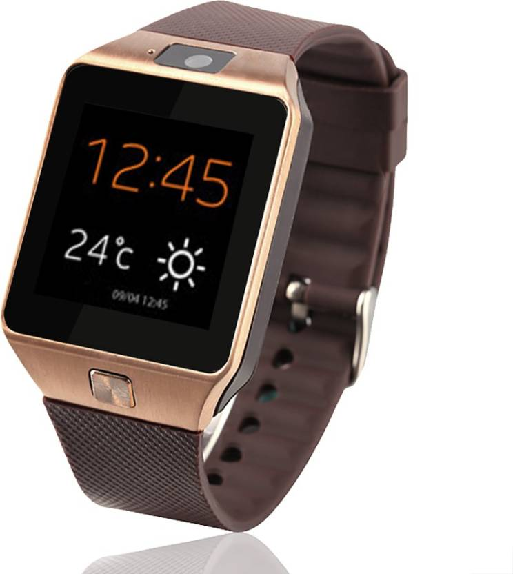 VibeX ™ 3G In-Built Camera & Mobile Memory card Supported DZ-09 Gold Smartwatch