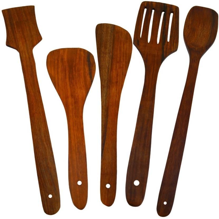 Desi Karigar Wooden Serving Spoon Cooking Spoon Set