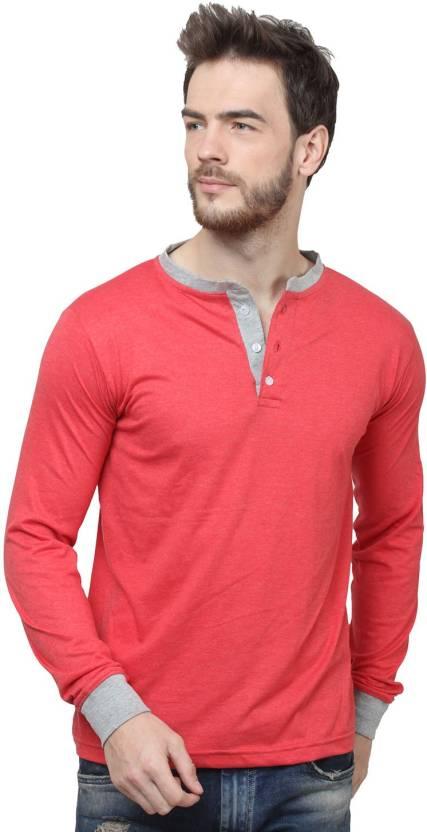 SayItLoud Solid Mens Henley Pink T-Shirt