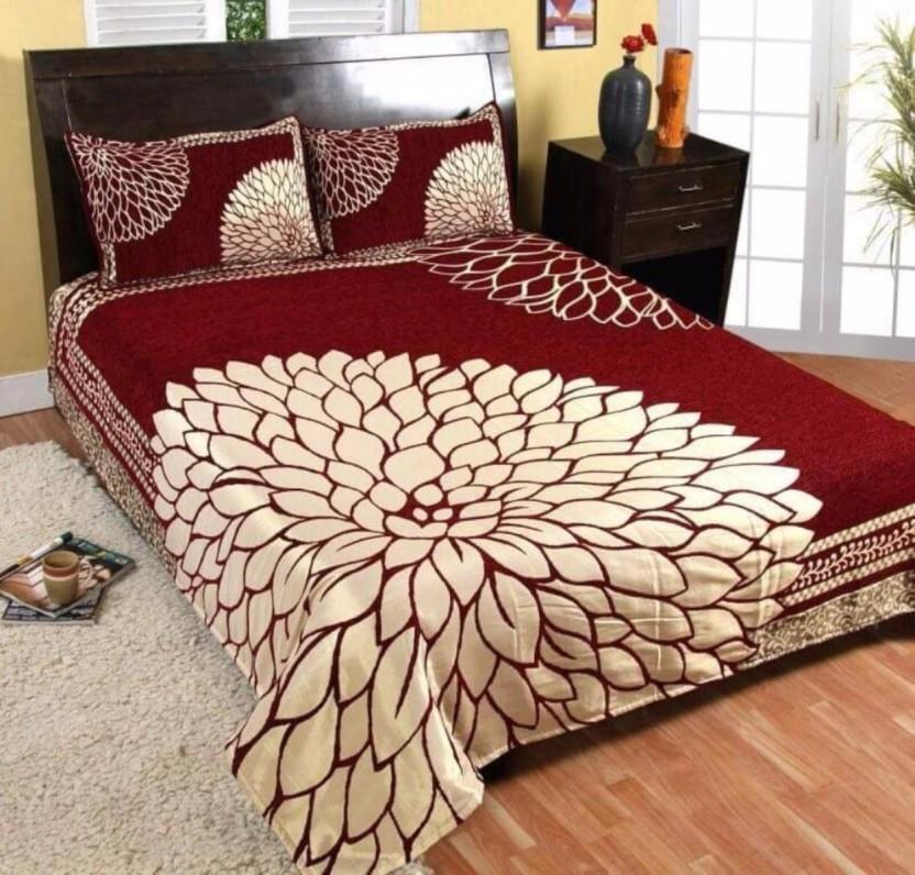 Akshaan Texo Fab Velvet Double King Floral Bedsheet