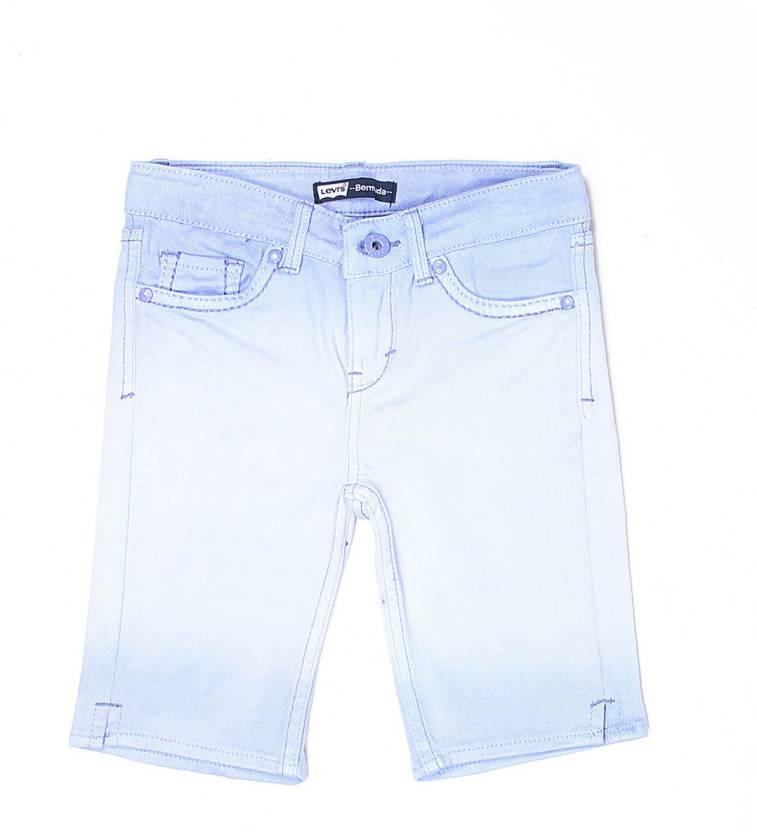 fecd050e Levi's Short For Girls Cotton Linen Blend, Cotton Nylon Blend, Cotton Linen  Blend (Light Blue, Pack of 1)