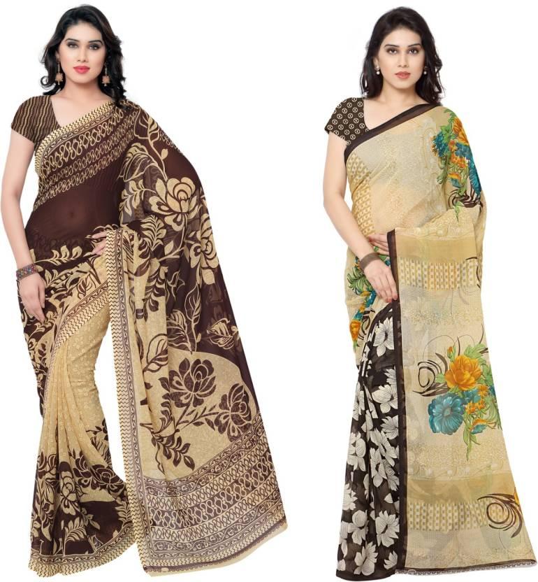 Kashvi Sarees Printed Fashion Georgette Saree(Pack of 2, Multicolor)