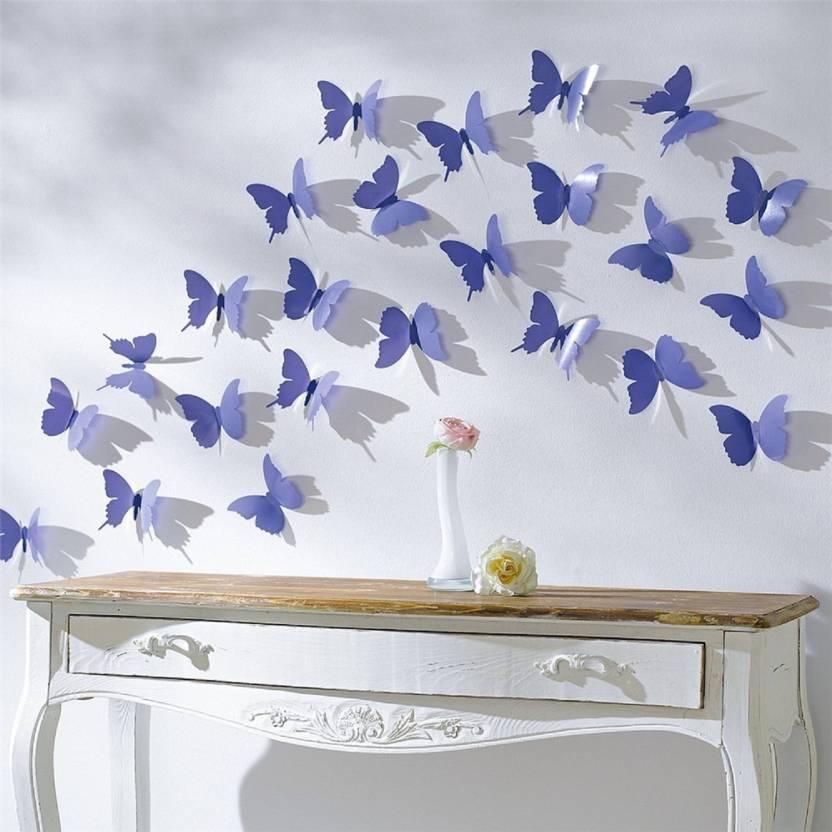 shrih medium blue 3d butterflies wall sticker price in india - buy