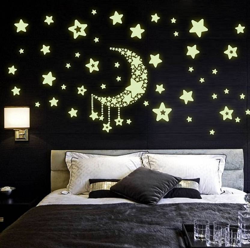 shrih medium moon and stars glow in the dark wall sticker price in