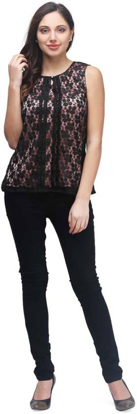 PRINTEMPS Casual Sleeveless Embroidered Women's Black Top