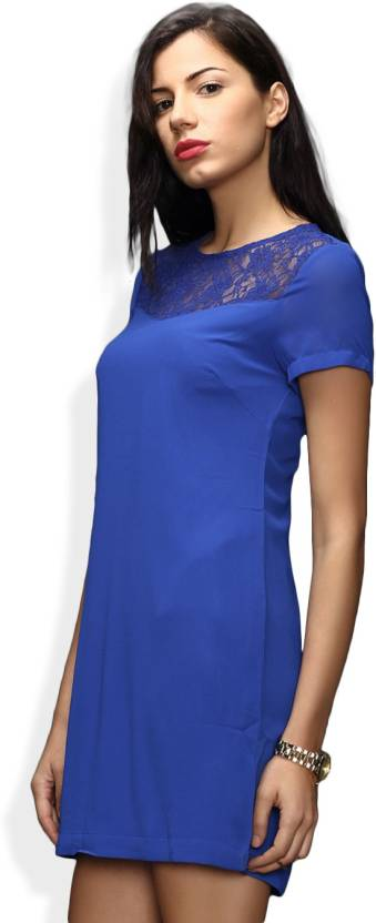 df8beb175e5df Sela Women's Sheath Dark Blue Dress - Buy Royal blue Sela Women's ...